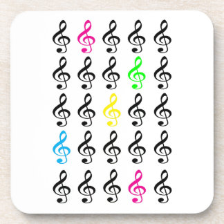 Colorful Treble Clefs Beverage Coasters