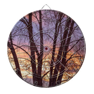 Colorful Tree Branches Night Dartboard