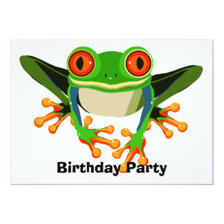 "Colorful Tree Frog Birthday Party 5"" X 7"" Invitation Card"