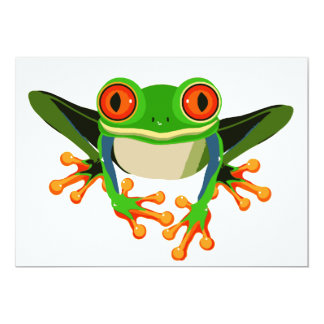 "Colorful Tree Frog 5"" X 7"" Invitation Card"
