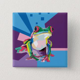 Colorful Tree Frog Portrait 2 Inch Square Button