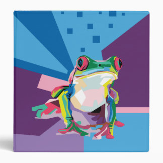 Colorful Tree Frog Portrait 3 Ring Binders