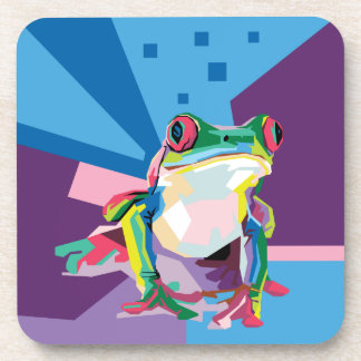 Colorful Tree Frog Portrait Coaster