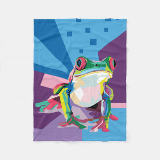 Colorful Tree Frog Portrait Fleece Blanket