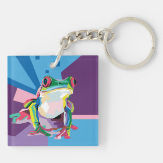 Colorful Tree Frog Portrait Keychain