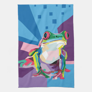 Colorful Tree Frog Portrait Kitchen Towel