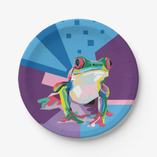 Colorful Tree Frog Portrait Paper Plate
