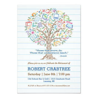 "Colorful Tree of Knowledge Teacher Retirement Card 5"" X 7"" Invitation Card"
