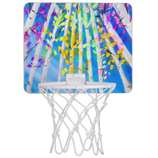 Colorful Trees with Neon Leaves Painting Mini Basketball Hoop