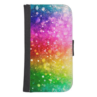 Colorful Trendy Abstract Bokeh Glitter Galaxy S4 Wallets