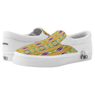 Colorful Trendy Tribal Aztec Geometric Pattern Slip-On Sneakers