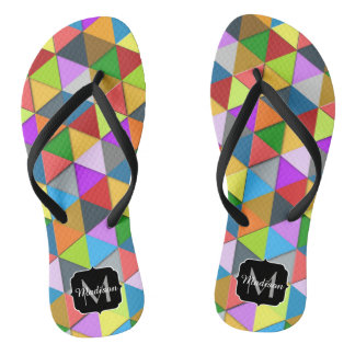 Colorful triangle galore geometry pattern Monogram Flip Flops