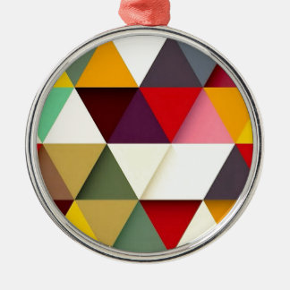Colorful triangle mash-up Silver-Colored round ornament