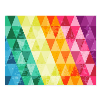 Colorful triangle pattern postcard