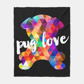 Colorful Triangle Pattern Pug Silhouette Pug Love Fleece Blanket