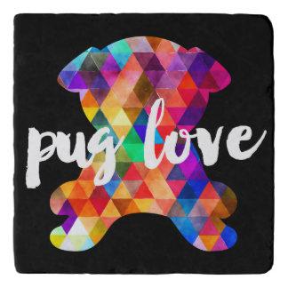 Colorful Triangle Pattern Pug Silhouette Pug Love Trivet