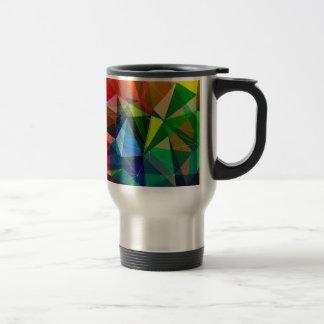 Colorful triangle pattern travel mug