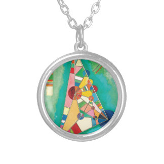 Colorful Triangles by Wassily Kandinsky Silver Plated Necklace