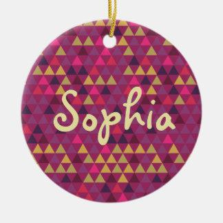 Colorful Triangles Ceramic Ornament