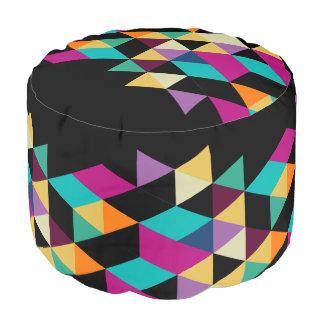 Colorful Triangles Modern Geometric Pattern Pouf