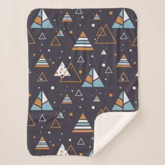 Colorful Triangles Seamless Pattern Sherpa Blanket