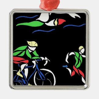 Colorful Triathlon Design Silver-Colored Square Ornament