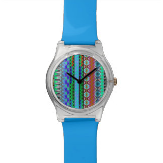Colorful Tribal Aztec Pattern Blue Wrist Watches