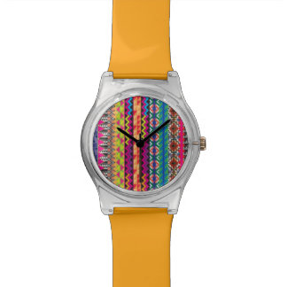 Colorful Tribal Aztec Pattern Wristwatches