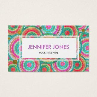 Colorful  Tribal Boho Ethnic Circular Pattern Business Card