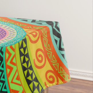 Colorful  Tribal Boho Ethnic Circular Pattern Tablecloth