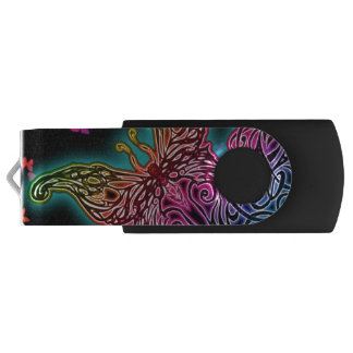 Colorful Tribal Butterfly USB Swivel USB 2.0 Flash Drive