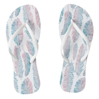 Colorful Tribal Feather Pattern | Flip Flops
