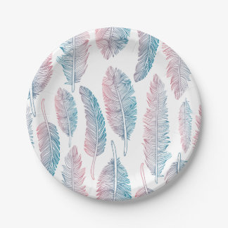 Colorful Tribal Feather Pattern | Paper Plates