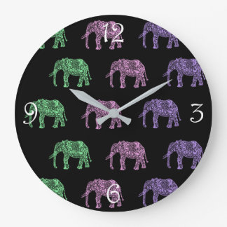 colorful tribal floral boho elephant pattern large clock
