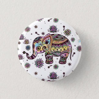 Colorful tribal flowers elephant 1 inch round button