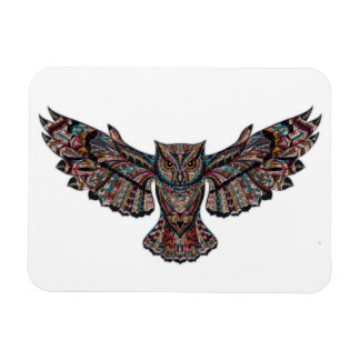 Colorful Tribal Flying Owl Magnet