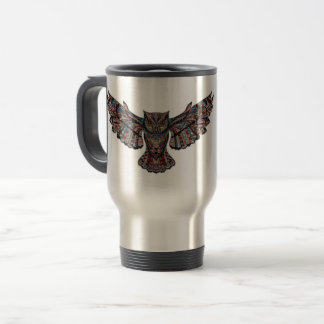 Colorful Tribal Flying Owl Travel Mug