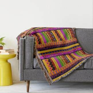 Colorful Tribal Inspired Throw Blanket