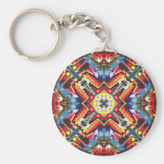 Colorful Tribal Motif Basic Round Button Keychain