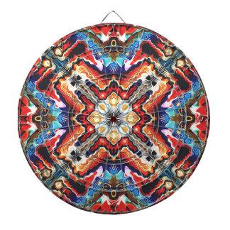 Colorful Tribal Motif Dartboard With Darts