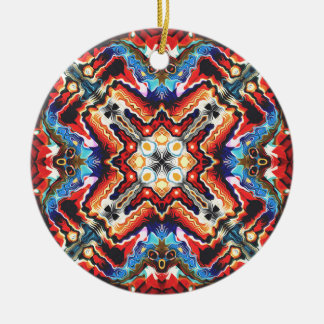 Colorful Tribal Motif Round Ceramic Ornament