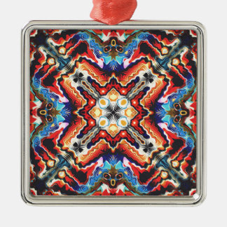 Colorful Tribal Motif Silver-Colored Square Ornament