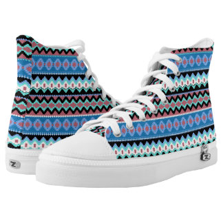 Colorful Tribal Pattern High Top ZipZ Tennis Shoes