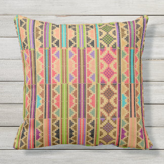 Colorful Tribal Stripes Outdoor Pillow