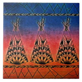 Colorful Tribal Teepees Art Boho Design Ceramic Tiles