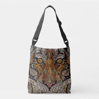 Colorful Tribal Tiger Mask Mosaic Crossbody Bag