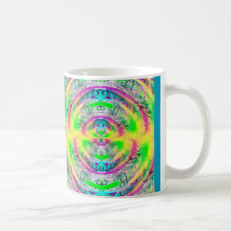 Colorful trippy psychedelic pattern mug