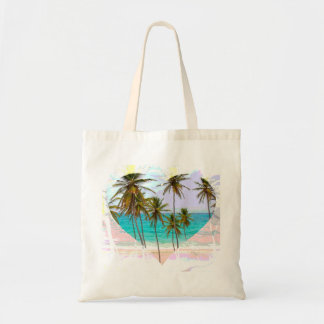 Colorful Tropical Beach Tote Bag Heart