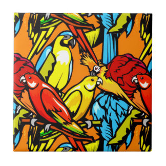 Colorful Tropical Birds Tile