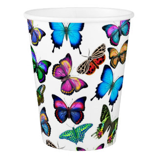 Colorful Tropical Butterflies Paper Cups Paper Cup
